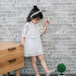 Wholesale Elegant Lolita - Sweet Girls Dresses Elegant Cheongsam Princess Party Dress Flower Cloak Lace Dress For Girl Children Clothing Dresses Grey White A6677