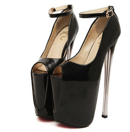 Wholesale Dress Super Sexy Wedding - Plus Size 34-43 19cm 22cm Super High Heels Spring & Autumn Women Pumps Peep Toe Platform Leather Women Pumps Buckle Strap Sexy Women Pumps
