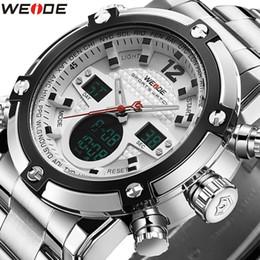 Wholesale Digital Watch Blue Lcd - luxury Weide Mens Sport LCD Digital Backlight Waterproof Stainless Steel Military Watch