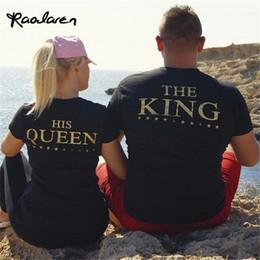 Wholesale Letter Couple Shirts - Raodaren Women Tops KING&HIS QUEEN Black Print Gold Letter Behind Couples Cotton T-shirt Creative Short Sleeve Women tshirt Plus Size