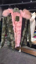 Wholesale Coat Woman Fur Inside - Pink fur Mr Mrs itlay fox fur inside Camouflage canvas jackets winter warm coats short style Mr Mrs furs parka