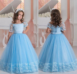 Wholesale Christmas Corset Dress - 2017 Lovely New Ball Gown Princess Girl's Pageant Dresses Beaded Sleeves Corset Back Lace Appliques Beaded Belt Flower Girl Dresses