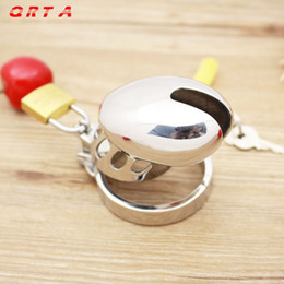 Wholesale Large Metal Chastity Cages - 2015 Male Chastity Sexy Slave Male Metal Chastity Device Large Cock Cages Men's Virginity Lock Penis Ring Adult Games Sex Toys