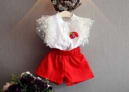 Wholesale Kids Red Vest Top - 2017 gilrs 2pcs set summer suits girls vest tops T shirts+girls red shorts suit baby girls set kids clothes