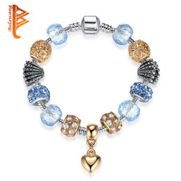 Wholesale Murano Glass Gold Pendant - BELAWANG Women Rose Gold Love Heart Pendant Charm Bracelet with Blue Murano Glass Beads Snake Chain Bracelets&Bangles Wholesale Jewelry