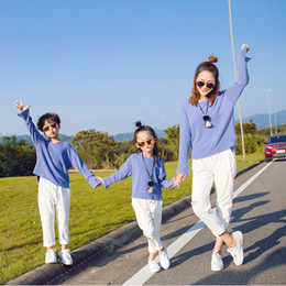 Wholesale Children S Matching Clothes - Mother and Children Casual Outfits 2pc set Knitting blue loose T shirt white fashion vintage jeans spring family matching look clothes