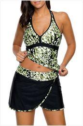 Wholesale Tankini Skirted Swimsuit - Plus Size Swimwear Women Two Piece swimsuit Spots Print V-neck Tankini And Skirt Swimsuit Banadores De Mujer