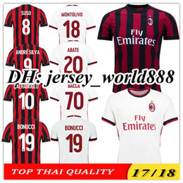 Wholesale Orange Dry Top - Top Thai quality 17 18 AC Milan Home red black soccer jersey 2017 2018 BACCA KAKA L.ADRIANO SUSO LAPADULA ABATE Milan away football shirts