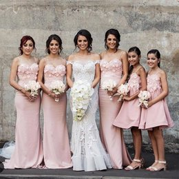 Wholesale Slimmer Spaghetti Strap Dress White - 2017 Pink Mermaid Maid Of Honor Dresses With 3D Flowers Spaghetti Straps Slim Fishtail Bridesmaid Gowns Sexy Wedding Guest Prom Dresses