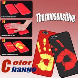 Wholesale Backing Sensors - Thermosensitive Color change Cases Magical PU Fingerprint Temperature Sensing Thermal Sensor Heatl Back Cover Case For iphone X 8 7 plus 6S