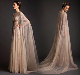 Wholesale Tulle Long Jacket - 2016 Long Sleeve Abaya Dubai Kaftan Moroccan Dresses Evening Dresses Lebanon Personalized Crystal Arabic Evening Wear