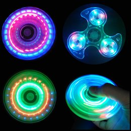 Wholesale Led Windmill Wholesale - LED Crystal Fidget Spinner Tri triangle Windmill EDC Transparent Gyro Toys with Changeable Lights Glow in dark stress relief DHL free