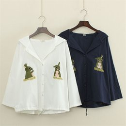 Wholesale Woman Navy Blue Cardigan - S26-2017 new cute rabbit embroidery white navy blue linen bat sleeves hooded thin coat hoodies , support drop shipping