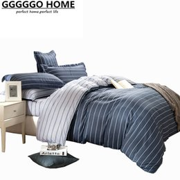 Wholesale Full Fashion Bedding Set - Wholesale- GGGGGO HOME,FASHION 100% cotton fabric stripe printed 4pcs bedding set,king queen full twin size duvet cover set bed set