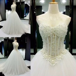 Wholesale Modern Wedding Dress Patterns - 2017 robe de mariage Strapless Wedding Dress Sweetheart Pearls Beading Patterns See Through Sexy Luxury Bride Gowns Turkey A Line Tulle Dres
