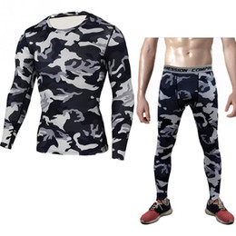 Wholesale Tight Fashion Suits - Men's camouflage print long sleeve slim tights suit tops pants trousers
