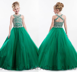 Wholesale Cupcake Brown - 2017RACHEL ALLAN Little Girls Cupcake Pageant Dresses Green Halter Beads Crystals Sequins Floor Length A Line Formal Girls Dresses For Teens