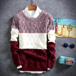 Wholesale Korean Winter Sweaters - New Style winter pullover sweater brand knitting long sleeve O-neck Slim Korean fashion clothes men sweater