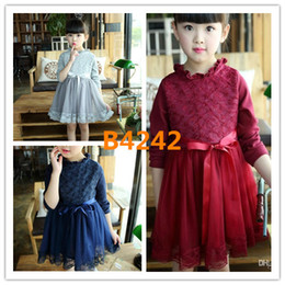 Wholesale Wholesale Satin Puffs - 2017 Spring Autumn Kids Lace Flower Cotton Tutu Dresses 23 Colors Girls Princess Cute Dress Cotton Satin Kids Tutu Dress Ball Dress 5pcs lot