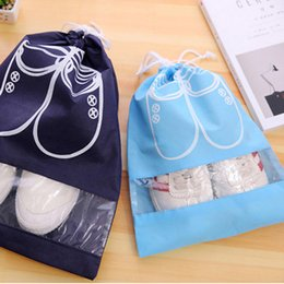 Wholesale Travel Shoes Pouch - Wholesale- High Quality Non-Woven Laundry Shoe Bag 2 size Travel Pouch Storage Portable Tote Drawstring Bag Organizer Cover