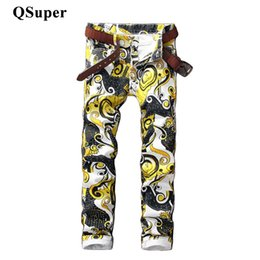 Wholesale Floral Print Skinny Jeans - Wholesale- QSuper Luxury Brand Men Stylish Floral Print Cotton Jeans Mid Waist Men Straight Slim Fit Water Wash Coated Casual Jeans