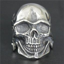 Wholesale Skull Polish - 2017 New Fashion Jewelry New Silver Skull Ring 316L Stainless Steel Polishing Silver New Gift Biker Soild Skull Ring