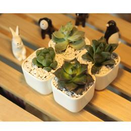 Wholesale Ceramic Flowerpots - Simple Originality White porcelain Mini square flowerpot Ceramic flowerpot plant Succulent plants Garden Supplies Flowerpot free shipping