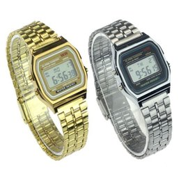 Wholesale Led 39 Mm - F-91W Men LED watch Ultra-thin Gold Silver Wristband Led Sports Watches Multifunction Metal Electronic F-91 Wristwatch