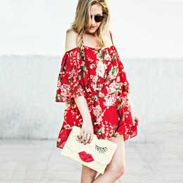 Wholesale Shirts Flouncing Sleeveless - Sweet Spaghetti Strap Flounce Short Sleeve Floral Print Loose Mini Dress for Women Summer Red Hot Fashion Flower Beauty Shirt