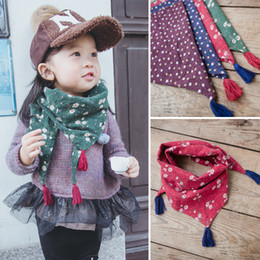Wholesale Kids Rings Flowers - Children Scarf Fashion Tassel Floral Kids Flower Neck Warmer Girl Scarfs Child Girl Accessories Scarves & Wraps Red green Purple Navy A5891