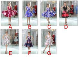 Wholesale Evening Dresses Flower Print - best selling printed flower short dresses for evening party dinner v-neckline mini cocktail sexy prom gowns