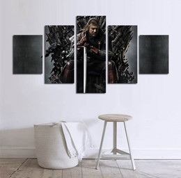 Wholesale Tv Wall Panelling - 5pcs set Unframed TV play Game of Thrones Iron Throne HD Print On Canvas Wall Art Painting For Living Room Decor