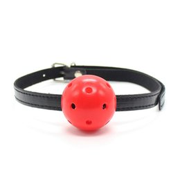 Wholesale Men Women Chastity Belts - BDSM Adult Products Mouth Ball Gag for women men Leather Mouth Gag slave Oral Fixation Stuffed chastity belt Flirting Sex Toys