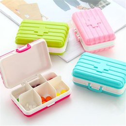 Wholesale Mini Pill Holder - Creative Portable Outdoor Medicine Box Suitcase Modeling 6 Slots Mini Travel Medicines Box Pill Holder Candy Color Storage Cases