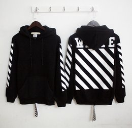 Wholesale Designer Fashion Hoodies - OFF WHITE Mens Fleece Hoodies Sweatshirts Stripe offset Print Famous Brand Designer Outerwear Coats Hip Hop Male Hooded Pullover M109