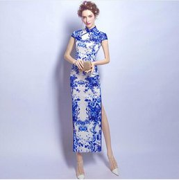 Wholesale Chinese Wedding Traditional Wear - Blue And White Porcelain Modern Qipao Long Wedding Chinese Antiques For Sale Traditional Cheongsam Sexy Oriental Evening Dress