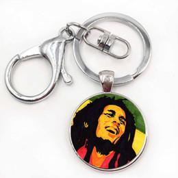 Wholesale Cool Cars Photos - Super Star Bob Marley Steampunk Reggae Music Cool Art Photo Glass Silver Keychain Collection Punk Gothic Car Key Chain Wholesale