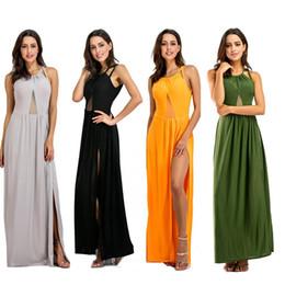 Wholesale Xxl Sexy Girls - New Women Stylish Sexy Sleeveless Backless Split Dresses Ladies Large Sizes XXL Elegant Bandage Bodycon Vestido Girl Long Dress WX03481