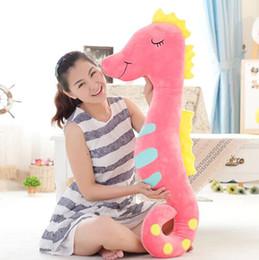 Wholesale Cute Stuffed Horse Toys - Wholesale-17.7''45cm Cute Sea Horse Plush Toy Stuffed Sleeping Pillow Creative Gift Boyfriend's Gift