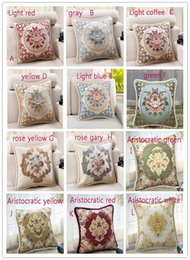 Wholesale Classic Pillow Cases - 19color European Classic Puff Jacquard Decorative Pillow Case 45x45cm Classic Embroidered Pillow Case