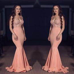 Wholesale Satin Lace Sweetheart Natural Waist - Sexy Coral Mermaid Prom Dresses Cheap Satin Fishing Spaghetti Straps Sweetheart Appliques Formal Party Gowns 2017 Sheer Waist Prom Dress