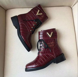 Wholesale Leather Cowboy Boot Straps - 2017 fall Womens black Burgundy red croc embossed real Leather lace up with removable gold buckle strap short biker Martin Ankle boots