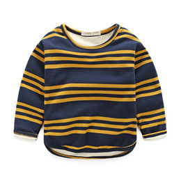 Wholesale 5t Cashmere - New winter children's clothing Boys children stripes plus cashmere thickening warm T-shirt bottoming shirt