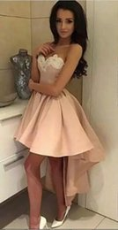 Wholesale Simple Prom Ball Gown - 2017 High Low Short Prom Dresses Pearl Pink strapless Cocktail Dresses Sweetheart sexy Low Back Appliqued vintage dresses