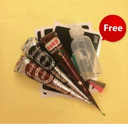 Wholesale Red Eye Tattoo - kit bulk ink hp Temporary Tattoo Set 3pcs Henna Paste (Black Red Dark Brown Color)+Jac Bottle+3pcs Henna Stencils Menndi Body Paint Kit