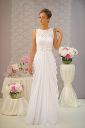 Wholesale Make Cheap Necklace - 2017 New Beach Empire Wedding Dresses Bridal Gown With Sheath Sheer Necklace Lace Handmade Flowers Draped Ivory Chiffon Cheap