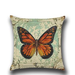Wholesale Decorative Butterfly Pillows - Woven linen cotton cushion cover sofa summer style car office home decorative throw pillow case cover butterfly pillowcase