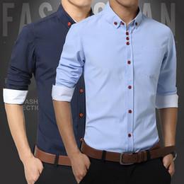 Wholesale Cheap Mens Fitted Dress Shirts - Wholesale- Mens Shirts Fashion 2015 Plus Size 5XL Men Dress Shirt Long Sleeve Cotton Oxford Shirt Fit Cheap Casual Men's Shirts Camisa