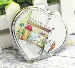 Wholesale Compact Mirror Heart Shaped - Random Portable Pocket Double Sided Fodable Mirror Heart Shaped Design Mini Pocket Makeup Mirror Cosmetic Compact Mirrors 50pcs Free Shippin