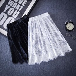 Wholesale Denim Tulle - hot Summer Women Sexy Lace Skirts Fashion Solid Casual Mesh tulle skirt Hollow Out short Pencil Elegant Black White Skirt